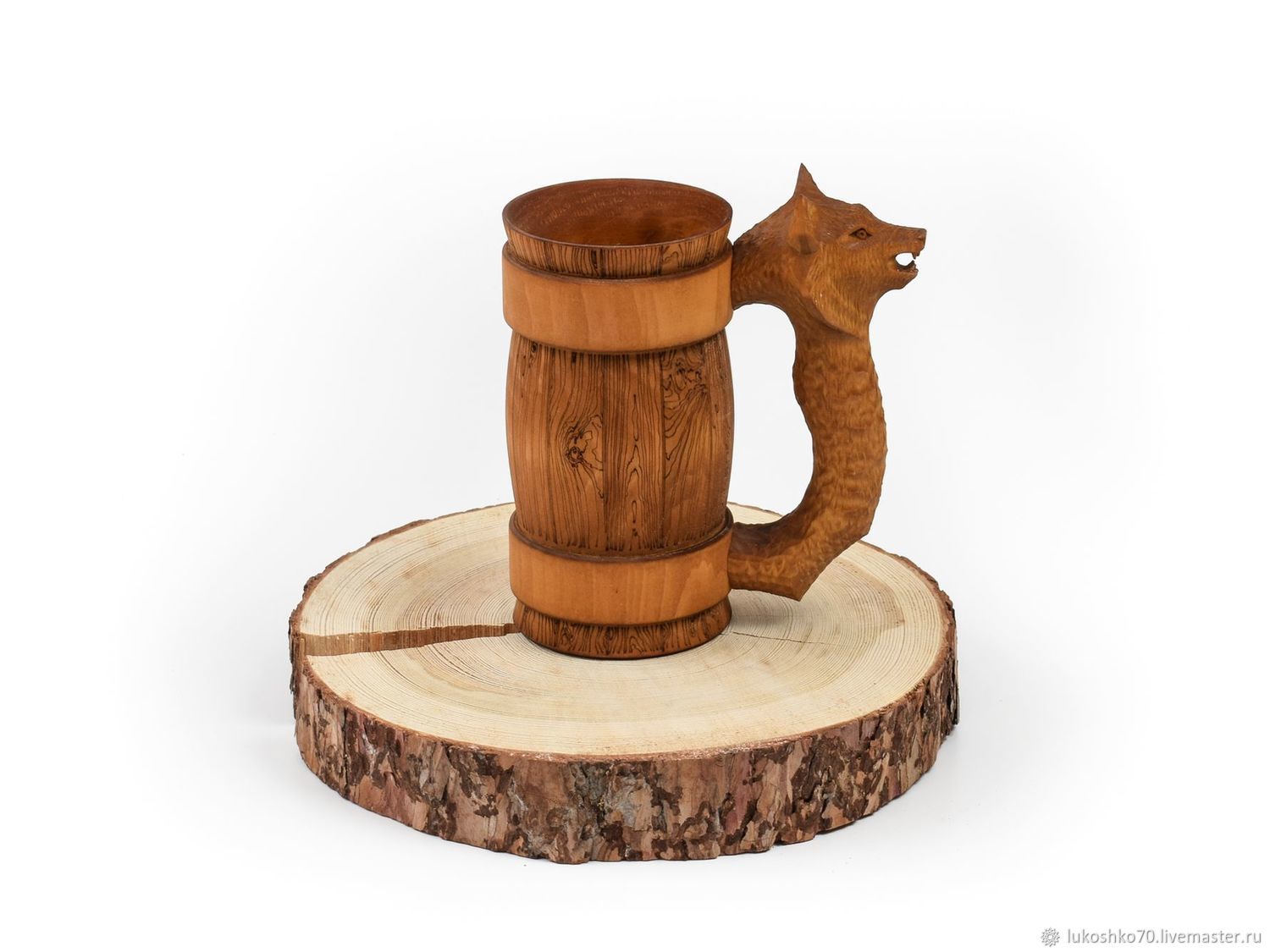 Mug with a carved handle ' Wolf'. Mug as a gift 0.7 l, Mugs and cups, Tomsk,  Фото №1