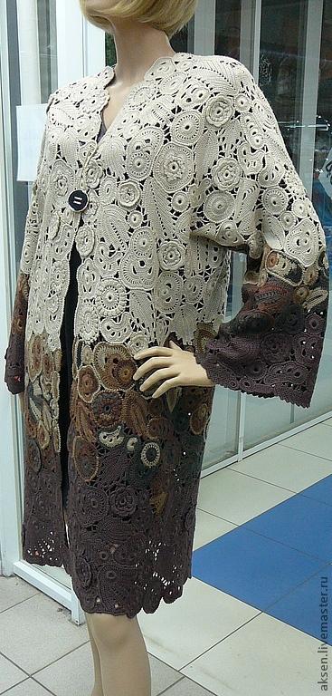 Верхняя одежда ручной работы. Ярмарка Мастеров - ручная работа. Купить Пальто летнее. Handmade. Коричневый, Вязание крючком