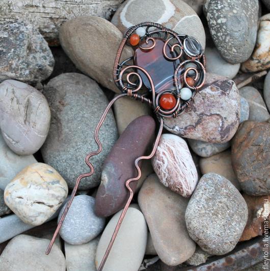 """Заколки ручной работы. Ярмарка Мастеров - ручная работа. Купить Шпилька """"Осенний вальс"""". Handmade. Оранжевый, wire wrap, фриформ"""