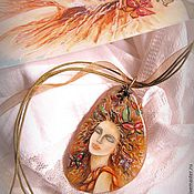 Украшения handmade. Livemaster - original item Lacquer miniature,pendant,the painting on the stone,lacquer painting. Handmade.