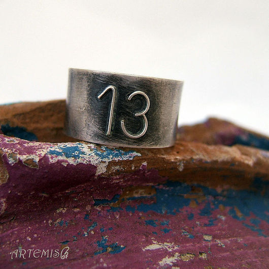 """Кольца ручной работы. Ярмарка Мастеров - ручная работа. Купить Серебряное кольцо """"Счастливое число"""". Handmade. Серебряный, тринадцать"""