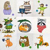 Материалы для творчества handmade. Livemaster - original item Textile coupon for crafts, coupon for decorating, Sovochki,owl. Handmade.