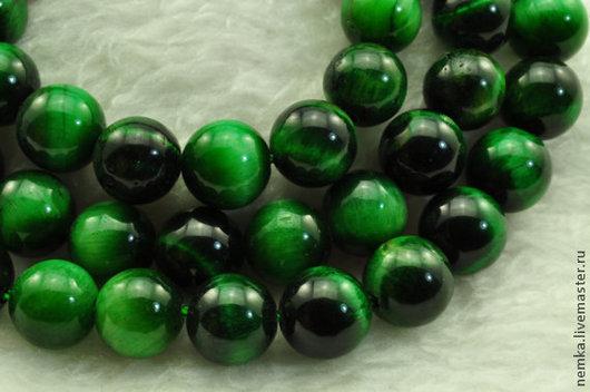Для украшений ручной работы. Ярмарка Мастеров - ручная работа. Купить Зеленый тигровый глаз 8 мм. Handmade. Зеленый