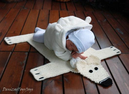 """Вязание ручной работы. Ярмарка Мастеров - ручная работа. Купить Мастер-класс """"Детский коврик для новорожденного малыша Шкура Медведя2"""". Handmade."""