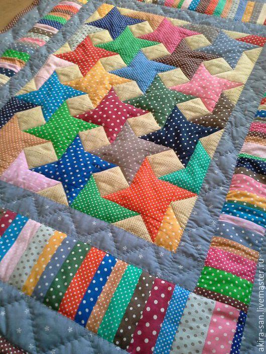 Пледы и одеяла ручной работы. Ярмарка Мастеров - ручная работа. Купить Детское лоскутное одеяло Звёзды в горошек. Handmade. Горошек