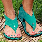 Обувь ручной работы handmade. Livemaster - original item sandals turquoise suede low.. Handmade.