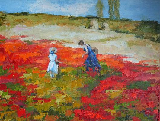Авторская копия картины Алексея Зайцева `Поле маков`, х/м, 60х80 см.