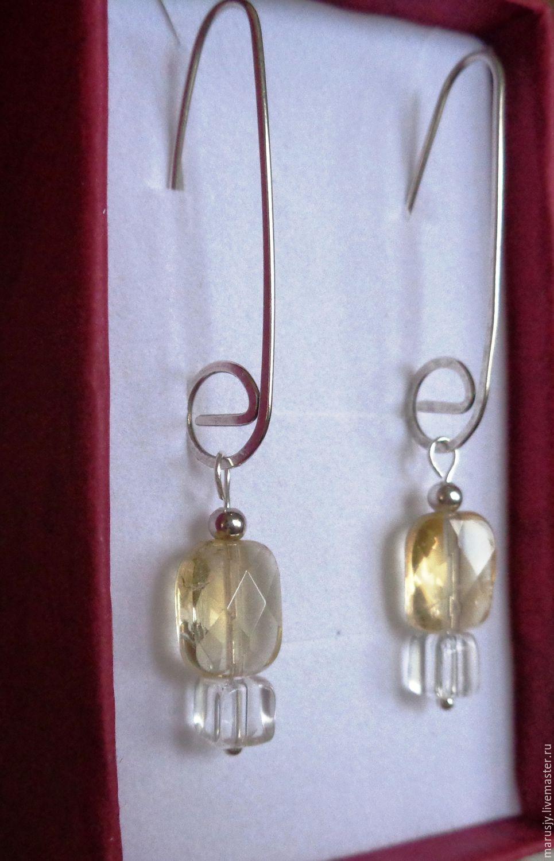 Earrings with citrine and rock crystal in 925 sterling silver, Earrings, Sergiev Posad,  Фото №1
