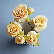 Украшения handmade. Livemaster - original item The set of stilettos with beige roses. Handmade.