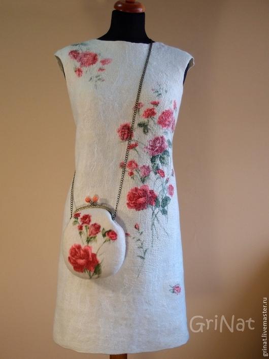 """Платья ручной работы. Ярмарка Мастеров - ручная работа. Купить Платье""""Розы на снегу"""". Handmade. Белый, платье шерстяное, павловопосадский платок"""