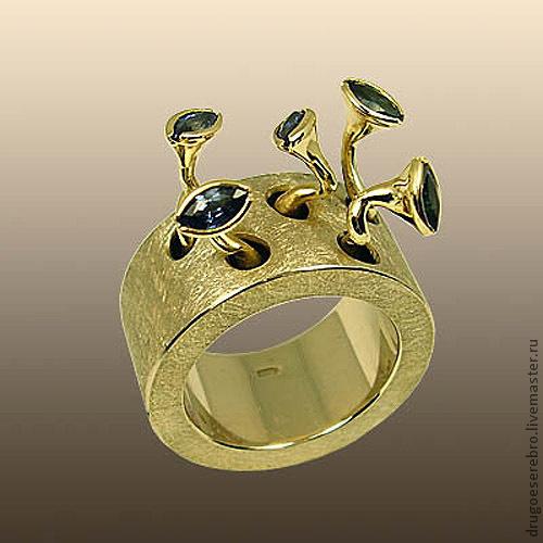 Кольца ручной работы. Ярмарка Мастеров - ручная работа. Купить Кольцо Птенцы, золото 585 пробы, сапфиры. Handmade.