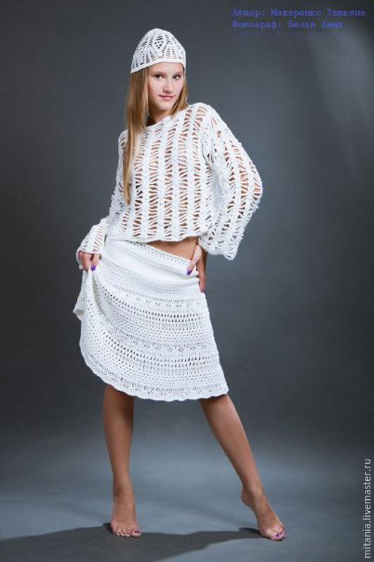 Юбки ручной работы. Ярмарка Мастеров - ручная работа. Купить Летняя ажурная юбка крючком. Handmade. Белый, юбка красивая