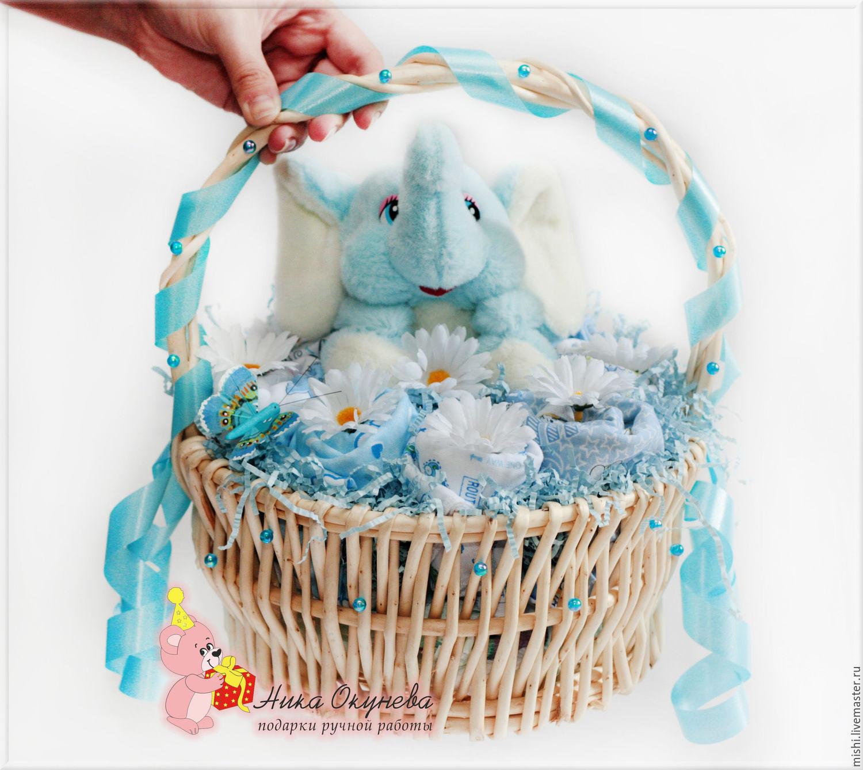 Корзина подарков для новорожденных своими руками