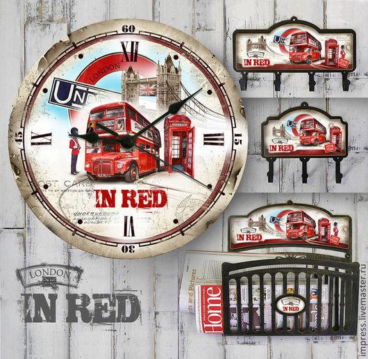 Часы для дома ручной работы. Ярмарка Мастеров - ручная работа. Купить часы и крючки Лондон в красном. Handmade. Часы настенные