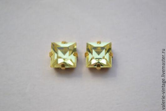 Для украшений ручной работы. Ярмарка Мастеров - ручная работа. Купить Винтажные кристаллы Swarovski 8 х 8 мм. цвет Jonquille. Handmade.