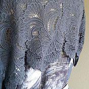 Одежда ручной работы. Ярмарка Мастеров - ручная работа Платье-рубашка 2049 серо-голубая длинная. Handmade.