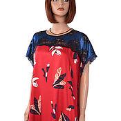 Одежда handmade. Livemaster - original item Red and blue elegant summer dress