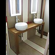 Подставки ручной работы. Ярмарка Мастеров - ручная работа столешница из тика/консоль-база для раковины в ванную. Handmade.