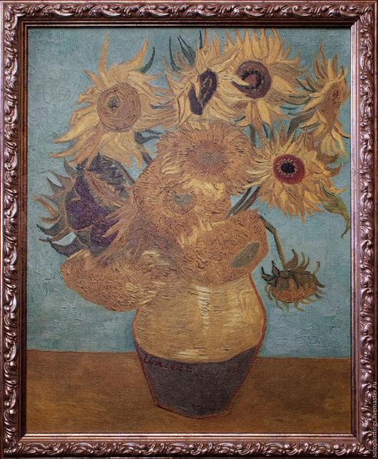"""Картины цветов ручной работы. Ярмарка Мастеров - ручная работа. Купить """"Подсолнухи"""". Винсент ван Гог. Handmade. Голубой, подсолнухи"""