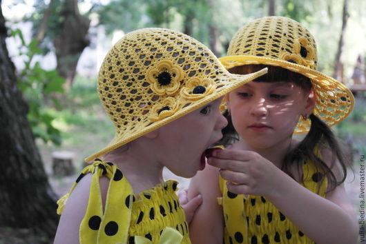 """Шапки и шарфы ручной работы. Ярмарка Мастеров - ручная работа. Купить Шляпка для девочки """"Счастье в горошек"""". Handmade. Желтый"""