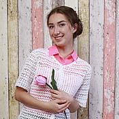 Одежда handmade. Livemaster - original item Summer blouse crochet cotton viscose Yoke. Handmade.