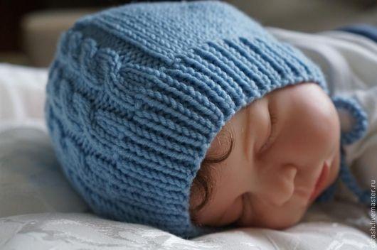"""Для новорожденных, ручной работы. Ярмарка Мастеров - ручная работа. Купить """" Моя первая шапочка"""". Handmade. Голубой, для новорожденных"""