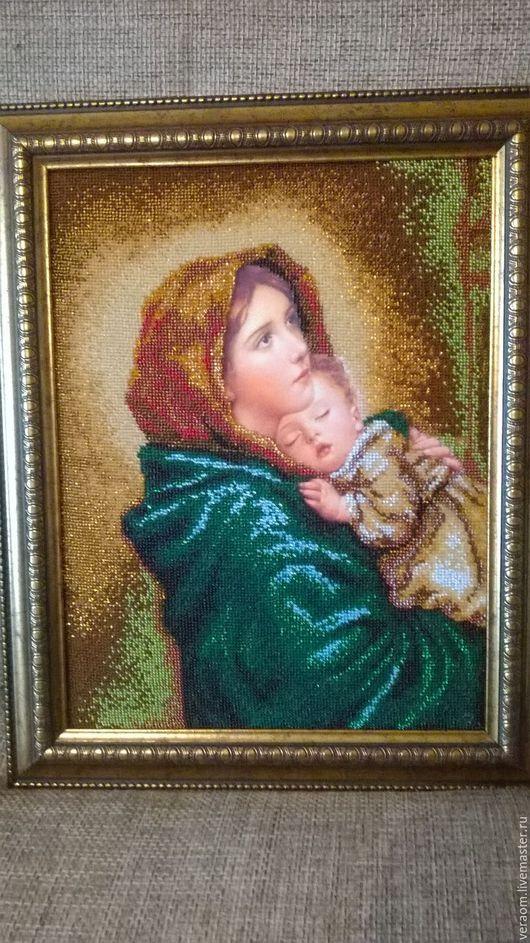 Иконы ручной работы. Ярмарка Мастеров - ручная работа. Купить Мадонна с младенцем. Handmade. Комбинированный, подарок на любой случай, шёлк