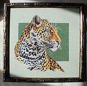 """Картины и панно ручной работы. Ярмарка Мастеров - ручная работа Картина """"Леопард"""" вышитая крестом. Handmade."""