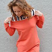 """Одежда ручной работы. Ярмарка Мастеров - ручная работа Платье """"на рубашке"""" ПЕРСИК. Handmade."""