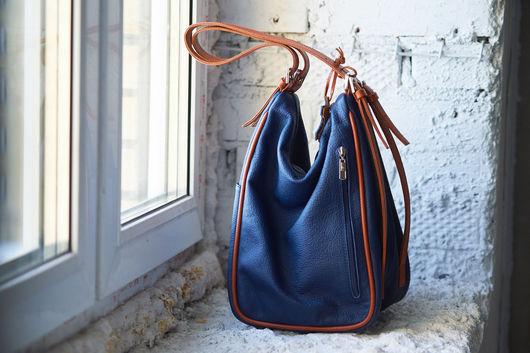 Рюкзаки ручной работы. Ярмарка Мастеров - ручная работа. Купить Яркий рюкзачок из натуральной кожи.. Handmade. Синий, рюкзак женский