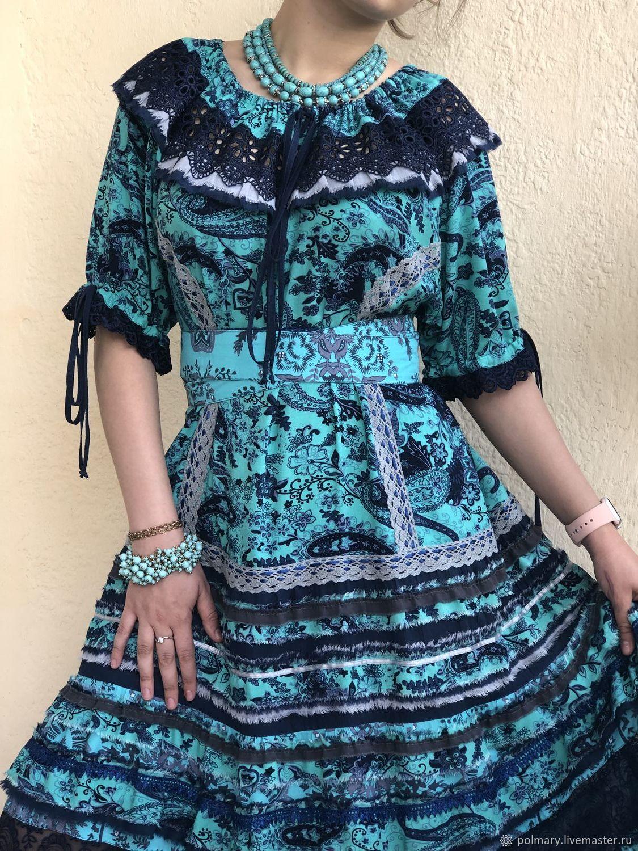 df2d42c1876 Online shopping on My Livemaster Dresses handmade. Order Boho dress blue-turquoise.  PolMary. Livemaster.