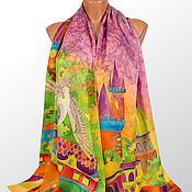 Аксессуары handmade. Livemaster - original item Silk scarf batik Golden Prague. Handmade.