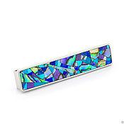 Украшения handmade. Livemaster - original item Tie clip. Turquoise, Lapis Lazuli, Charoite, Mother Of Pearl. Mosaic.. Handmade.