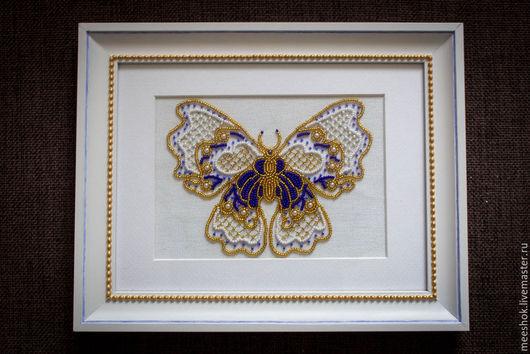Животные ручной работы. Ярмарка Мастеров - ручная работа. Купить Бабочка (вышивка бисером). Handmade. Разноцветный, мотылек, бабочка