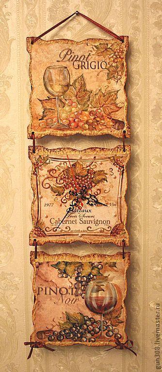 """Часы для дома ручной работы. Ярмарка Мастеров - ручная работа. Купить Часы-панно настенные """"Французское вино"""". Handmade. Бежевый"""
