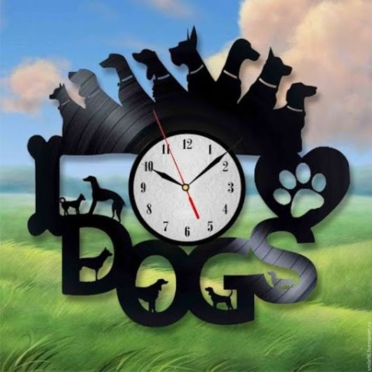 """Часы для дома ручной работы. Ярмарка Мастеров - ручная работа. Купить Часы из пластинки """"Собаки"""". Handmade. Комбинированный, собака, пес"""