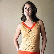 Одежда ручной работы. Ярмарка Мастеров - ручная работа Двухцветное платье из хлопка. Handmade.