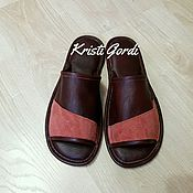 Обувь ручной работы. Ярмарка Мастеров - ручная работа Мужские кожаные тапки М-2 кожа/замша. Handmade.