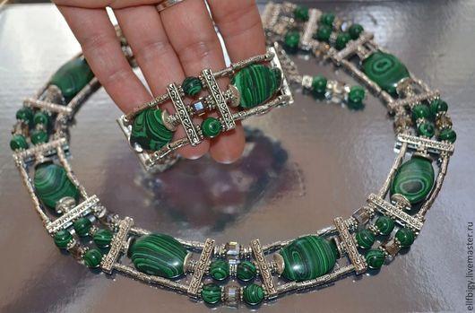 Комплекты украшений ручной работы. Ярмарка Мастеров - ручная работа. Купить Колье браслет серьги малахит. Handmade. Зеленый