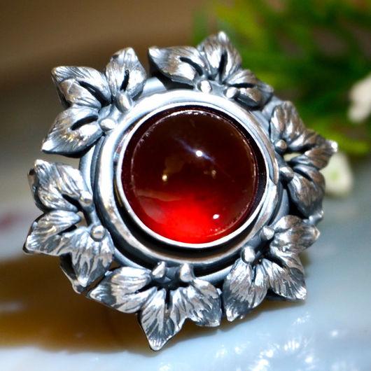 """Кольца ручной работы. Ярмарка Мастеров - ручная работа. Купить Кольцо """"Гранатовый цветок"""" - гранат гессонит, серебро. Handmade."""