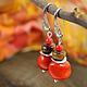 Серьги ручной работы. Ярмарка Мастеров - ручная работа. Купить Серьги из коралла «Физалис». Handmade. Красно-оранжевый, сережки