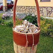 Сумка-торба ручной работы. Ярмарка Мастеров - ручная работа Сумка плетеная круглая с отделкой из кожи цвет солома. Handmade.