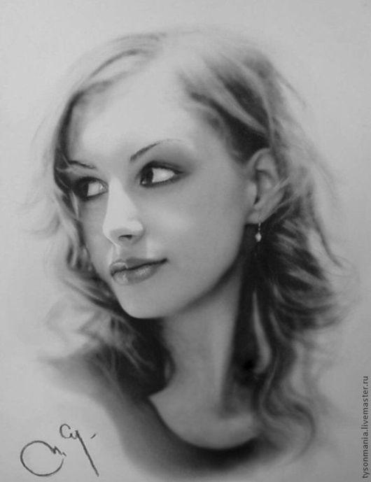 Люди, ручной работы. Ярмарка Мастеров - ручная работа. Купить Портрет несуществующей девушки. Handmade. Чёрно-белый, реализм, волосы