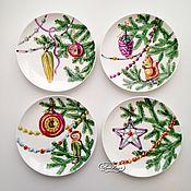Посуда handmade. Livemaster - original item Painted porcelain Plates set of Old Christmas toys. Handmade.