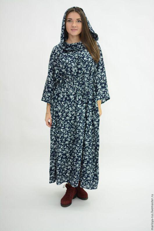 """Платья ручной работы. Ярмарка Мастеров - ручная работа. Купить Платье """"Валаам"""" с капюшоном. Handmade. Тёмно-синий, платье с карманами"""