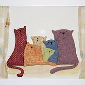 Картины и панно ручной работы. Ярмарка Мастеров - ручная работа 6 котиков. Handmade.