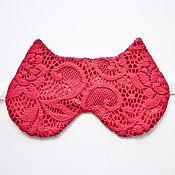 Одежда ручной работы. Ярмарка Мастеров - ручная работа Красная маска для сна кошка, красные кружева, подарок девушке. Handmade.