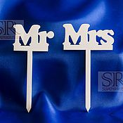 Свадебный салон ручной работы. Ярмарка Мастеров - ручная работа Топпер для торта MR/MRS. Handmade.