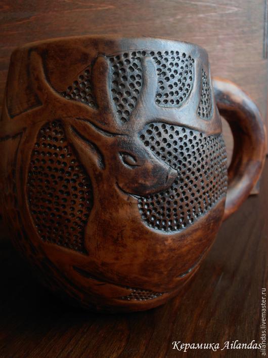 Кружка с Оленем Керамика, Молочный обжиг, Вощение 300 мл.