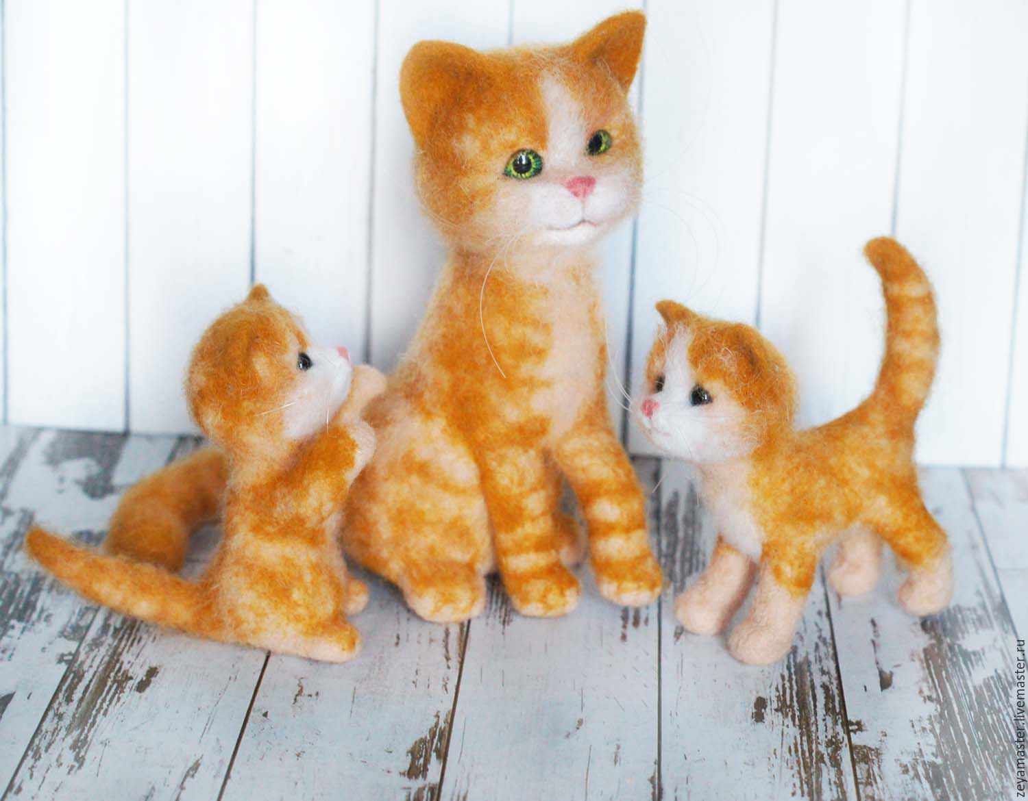 buy red family cat and kittens toys made of wool orange red
